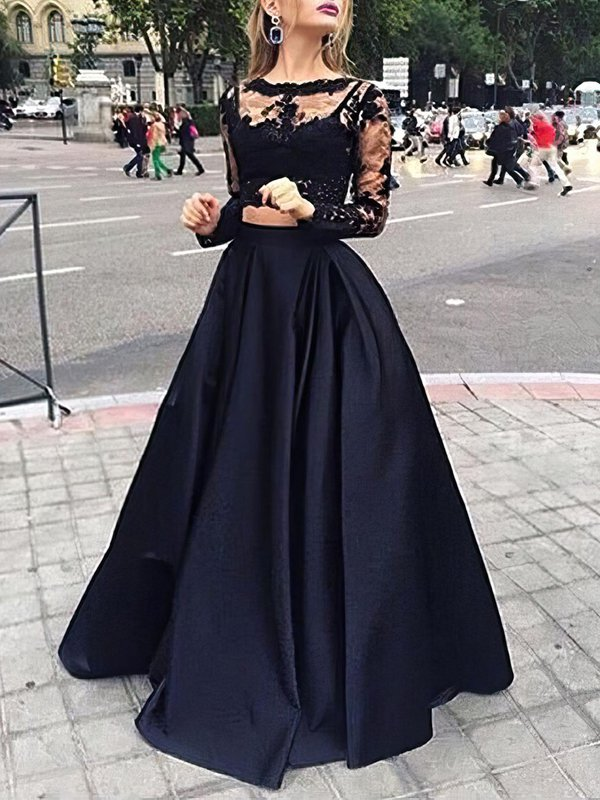 Elegant Black Long Sleeve Affordable Long Formal Dresses