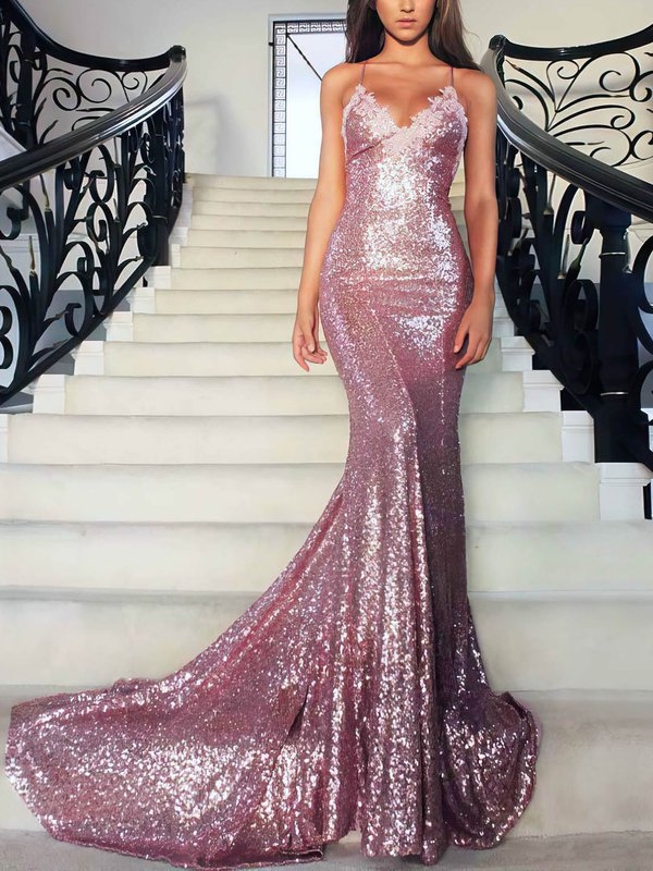 Open Back Mermaid Sequined Designer Long Formal Dresses