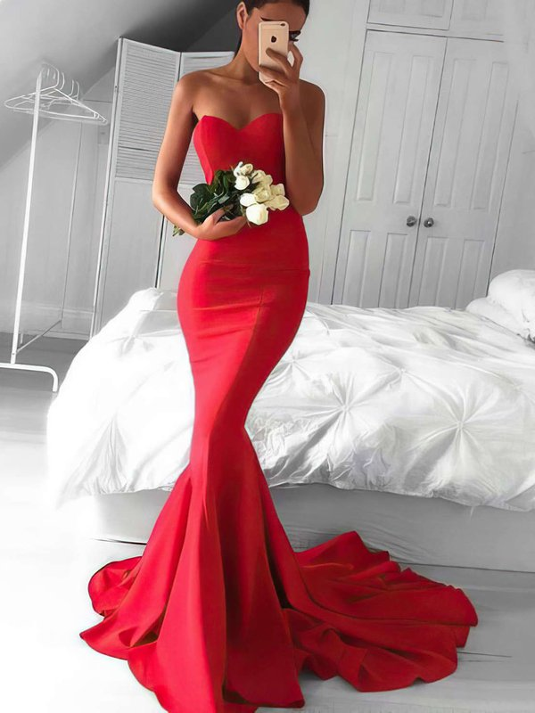 Sexy Mermaid Red Designer Long Evening Dresses