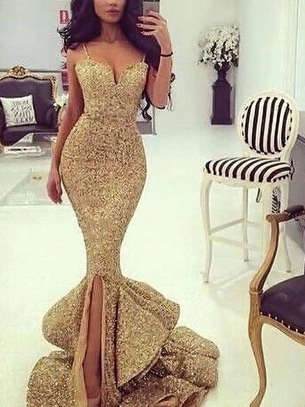Sparkle & Shine Mermaid Gorgeous Long Prom Dress with Slit