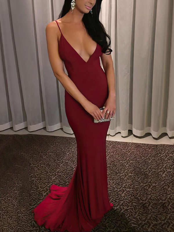 Open Back Sheath V Neck Affordable Long Formal Dresses