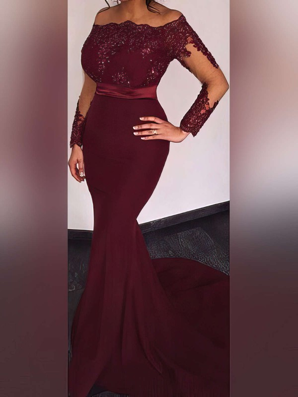 Elegant Off The Shoulder Burgundy Fitted Long Prom Dresses