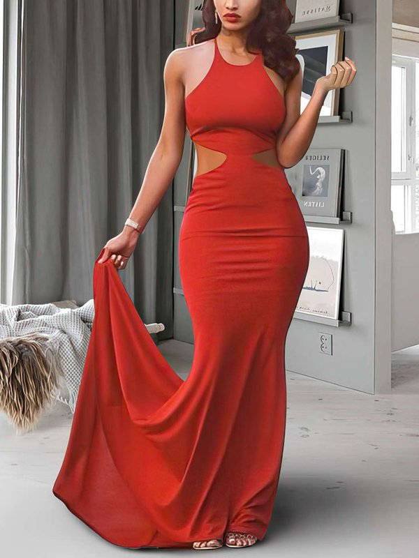 Open Back Jersey Red Affordable Long Evening Dresses