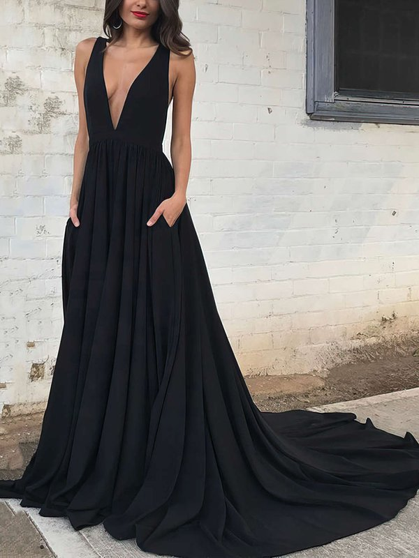 Elegant Princess V Neck Designer Long Evening Dresses