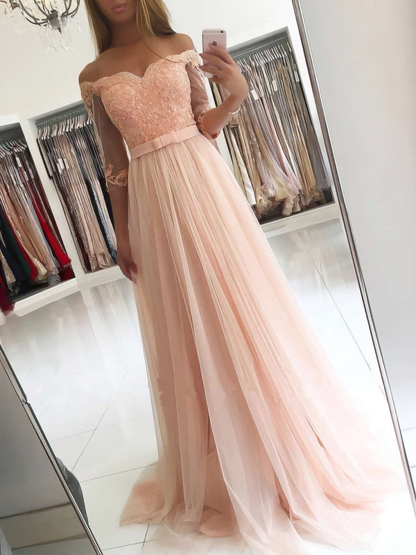 A Line Good Long Formal Dresses with Sleeves