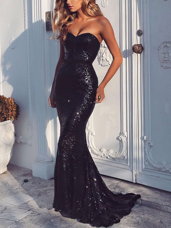 Elegant Open Back Black Designer Long Dress for Prom