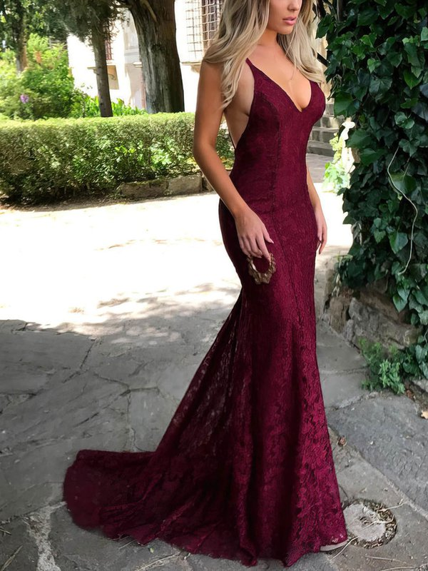 Open Back Mermaid Lace Hot Long Evening Dress