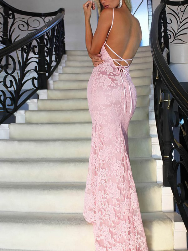 Sexy Open Back Pink Long Prom Dresses