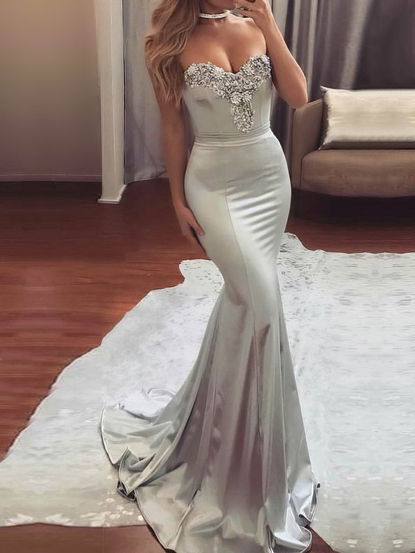 Sparkle & Shine Mermaid Silver Long Prom Dress