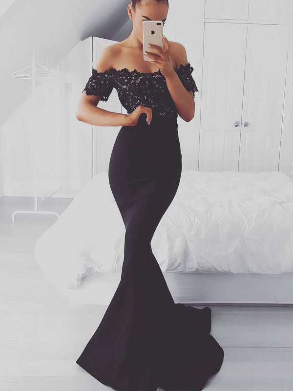 Mermaid Off The Shoulder Dark Navy Long Formal Dresses