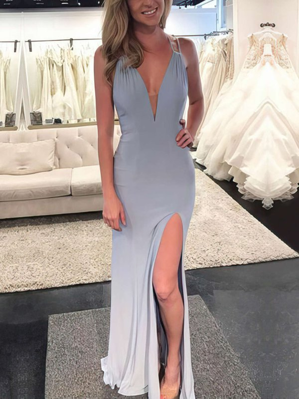 Sexy Mermaid V Neck Long Dress for Prom