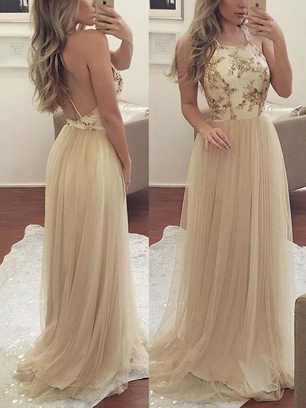 Open Back A Line Tulle Long Prom Dresses