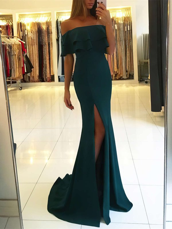 Elegant Off The Shoulder Long Prom Dresses with Slit