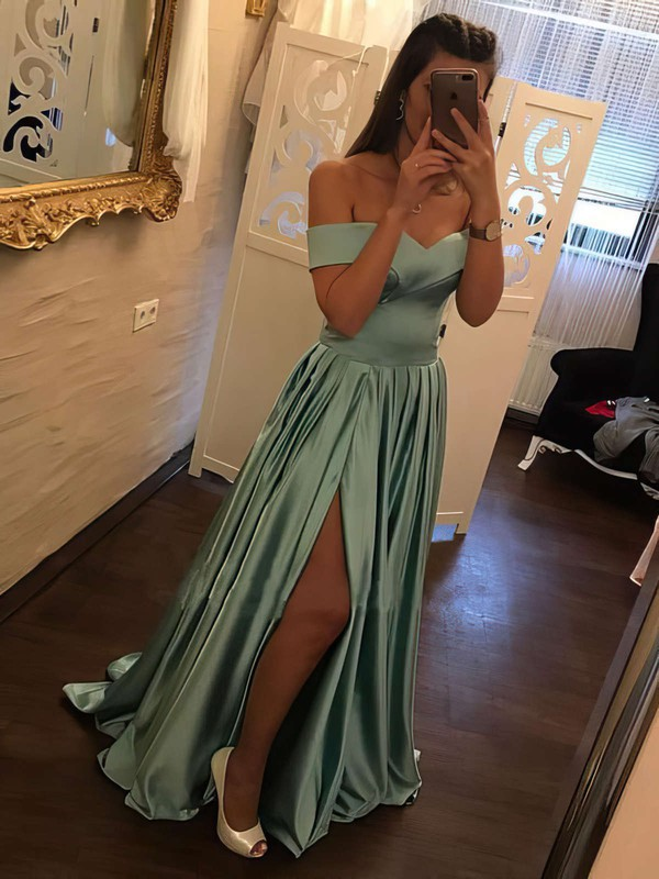 Elegant A Line Long Prom Dresses with Slit