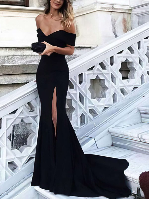Elegant Mermaid Off The Shoulder Fitted Long Prom Dresses