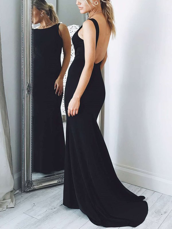 Mermaid Black Open Back Designer Long Dresses for Prom
