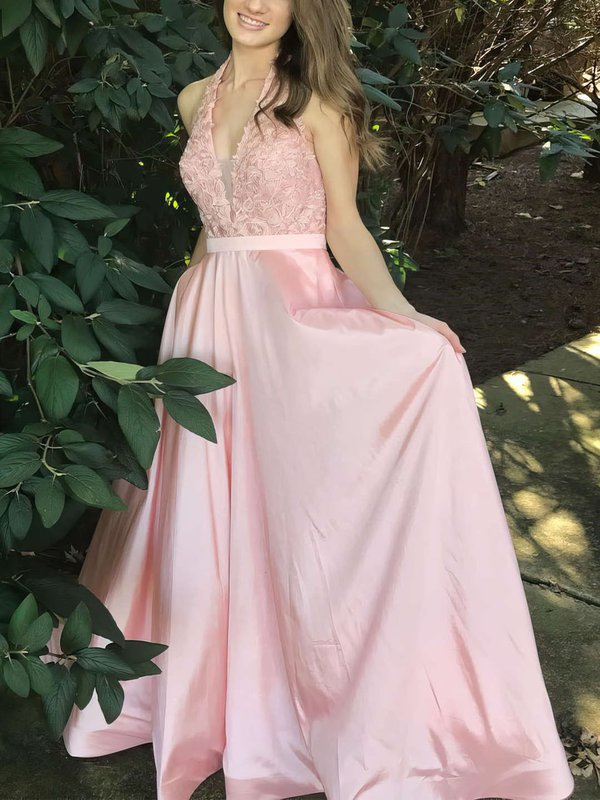 Elegant Halter Satin Good Long Formal Dress