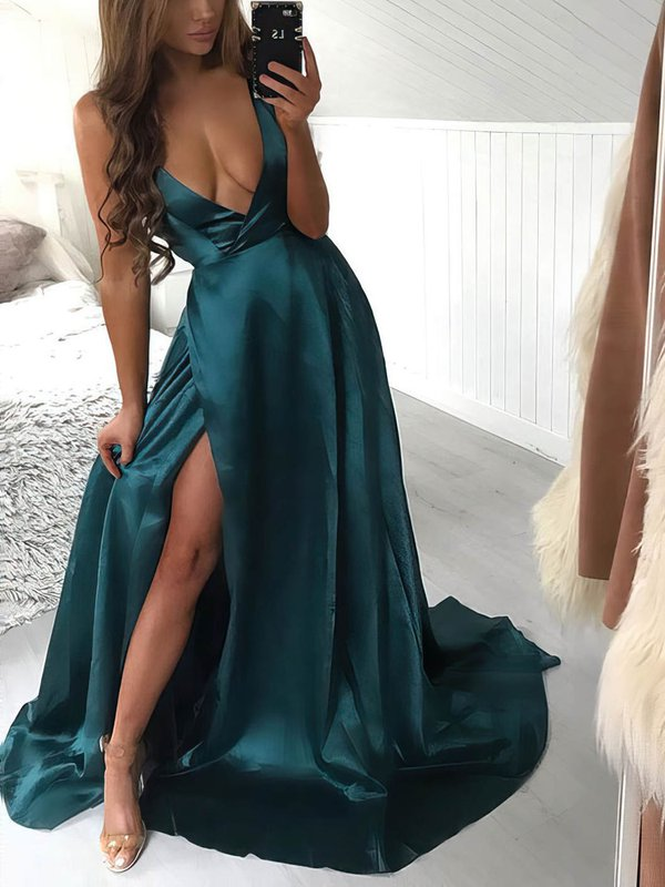Sexy A Line Dark Green Long Dresses for Prom