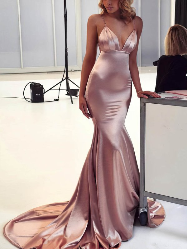 Sexy V Neck Champagne Long Formal Dress