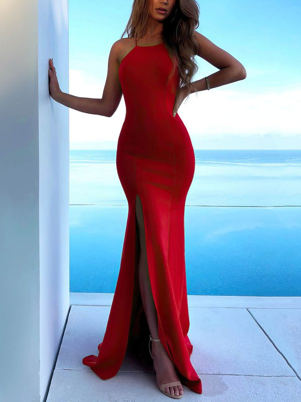 Sexy Mermaid Long Formal Dresses with Slit
