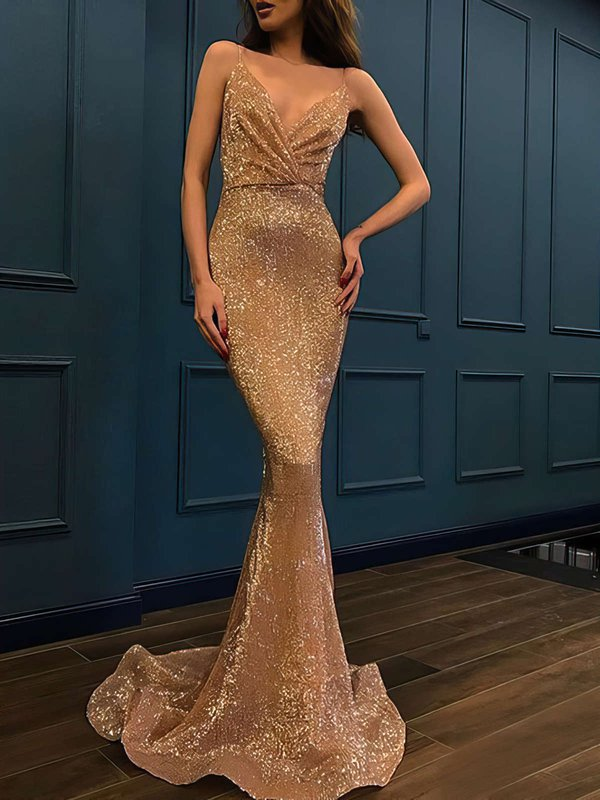 Sexy Mermaid V Neck Latest Long Dresses for Prom