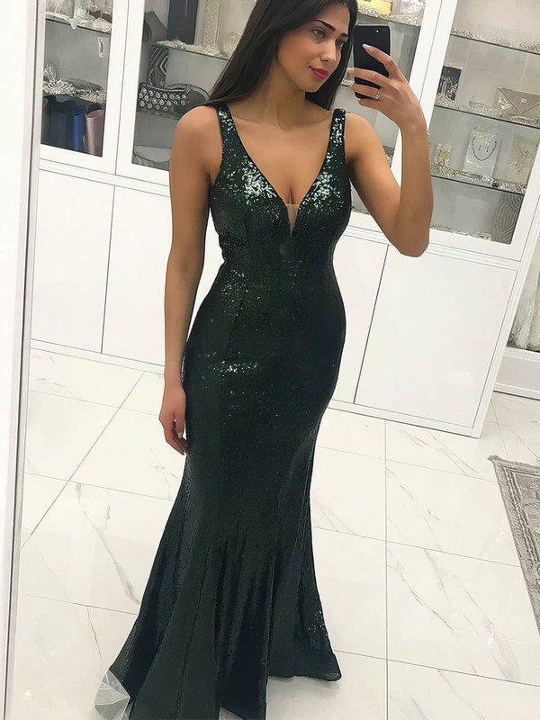 Open Back Mermaid Dark Green Gorgeous Long Evening Dress