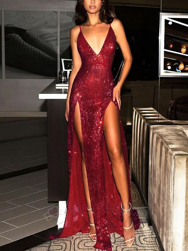 Sparkle & Shine Sheath Latest Long Formal Dresses with Slit