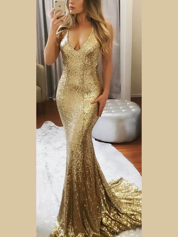 Sparkle & Shine Mermaid Champagne Latest Long Formal Dresses