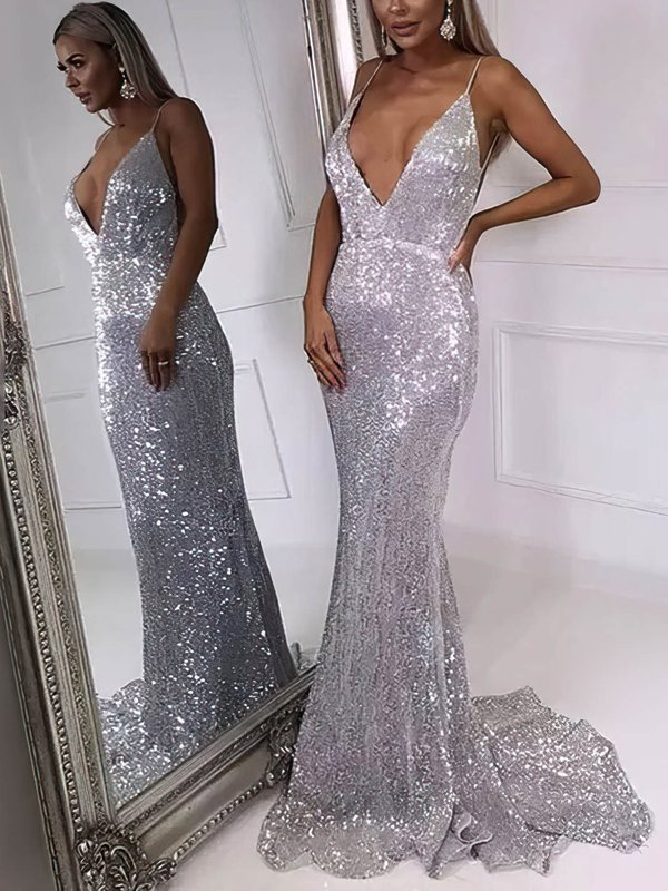 Sparkle & Shine Mermaid V Neck Gorgeous Long Prom Dresses
