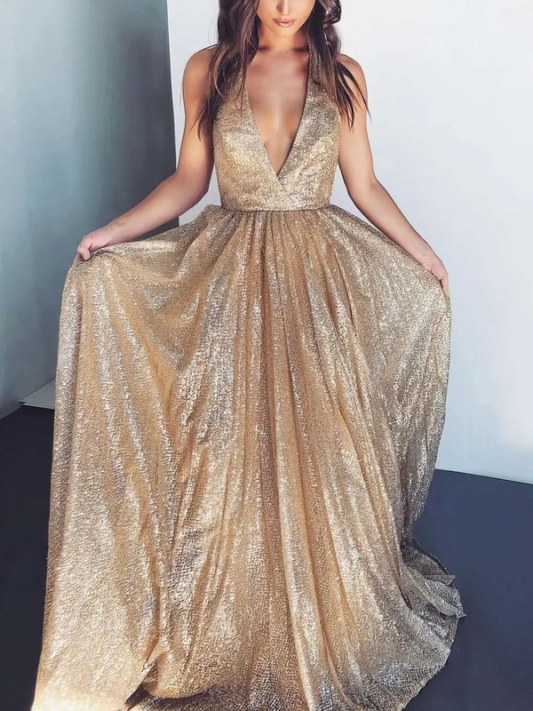 Sparkle & Shine A Line Shimmer Crepe Latest Long Dress for Prom
