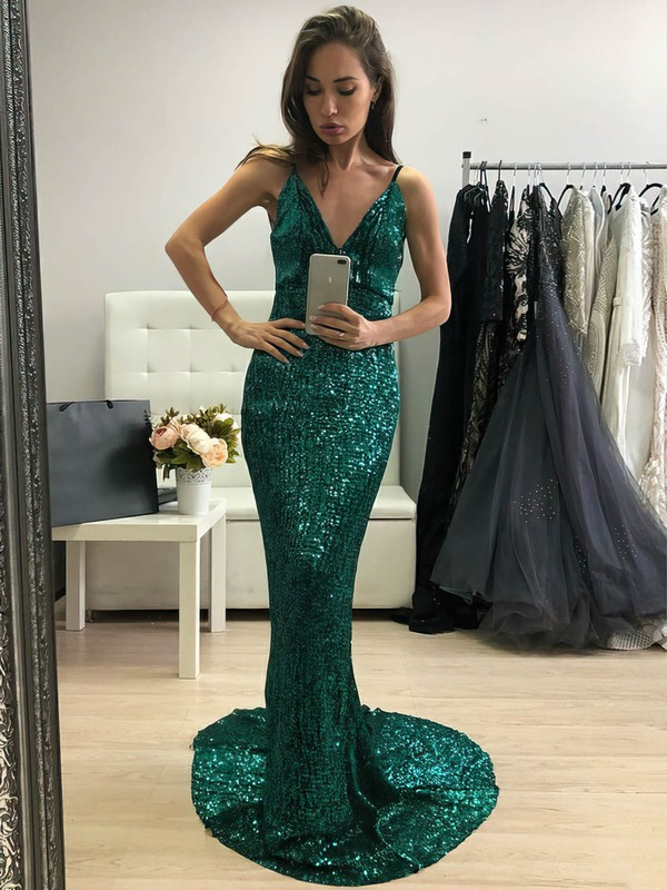 Sparkle & Shine Mermaid V Neck Gorgeous Long Dress for Prom